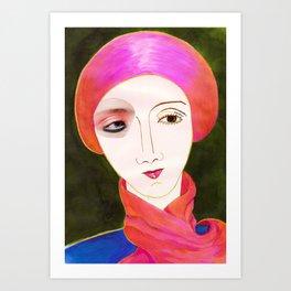 CON LA BUFANDA ROSA Art Print