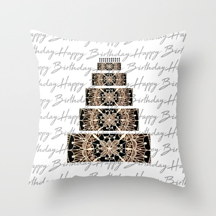 Black And Rose Gold Mandala Birthday Cake Candles Throw Pillow