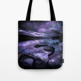Magical Mountain Lake Purple Teal Tote Bag