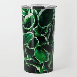 Hosta undulata albomarginata vibrant green plant leaves Travel Mug