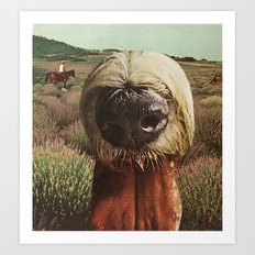 dog breath across a purple plain Art Print