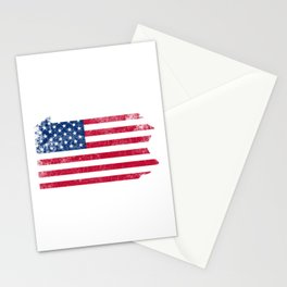 Pennsylvania State Map American Flag Vintage Stationery Cards