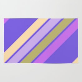 Purple Yellow and Green Stripes Rug