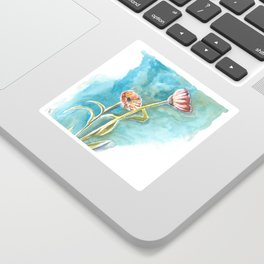Blooms on Turquoise Sticker