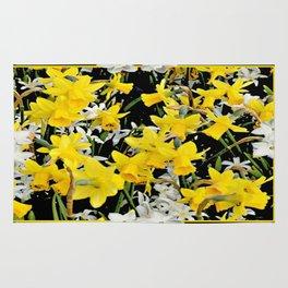 Black-Grey Art Design Yellow-White Daffodils Rug