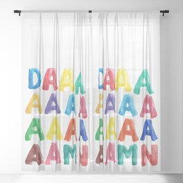Oh DAAAAMN Funny Watercolor Lettering Sheer Curtain