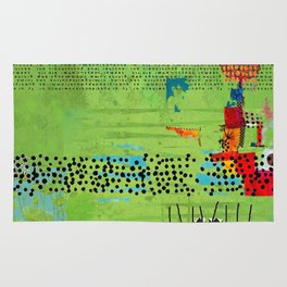 Red and Green Abstract Art Collage Rug