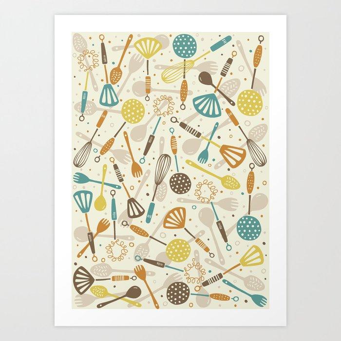 kitchen utensils art. Kitchen Utensils Art Print Y