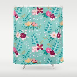 Exotic Flower Pattern Shower Curtain