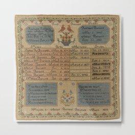Abigail Barnard - Family Register Sampler (1833) Metal Print