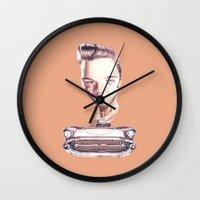 elvis presley Wall Clocks featuring Elvis Presley by Diego Abelenda