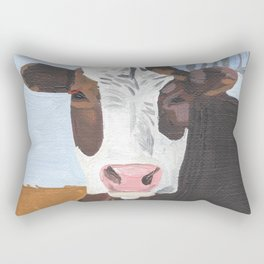 Cow In The Winter Rectangular Pillow