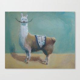 Dali Llama Funny Mustache Melted Clock Salvador Dadaism Canvas Print