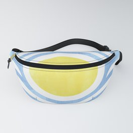 Yellow and Blue Bullseye Watercolor Fanny Pack