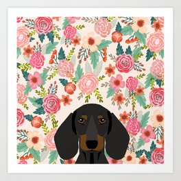 Dachshund floral dog head cute doxie must have pure breed weener dog gifts Art Print
