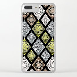 4 Metallic Ink Mandala-Diamonds Textile Clear iPhone Case
