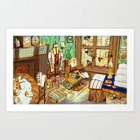 sewing Art Prints featuring Sewing by Qingthings