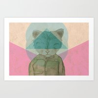 hipster lion Art Prints featuring Hipster Lion by Adrian Engelhardt