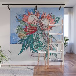 Painterly Vase of Proteas, Wattles, Banksias and Eucayptus on Blue Wall Mural