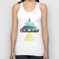 spaceship Tank Tops featuring Spaceship. by Dani Does Art