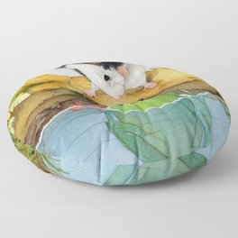 The mouse and the frog Floor Pillow