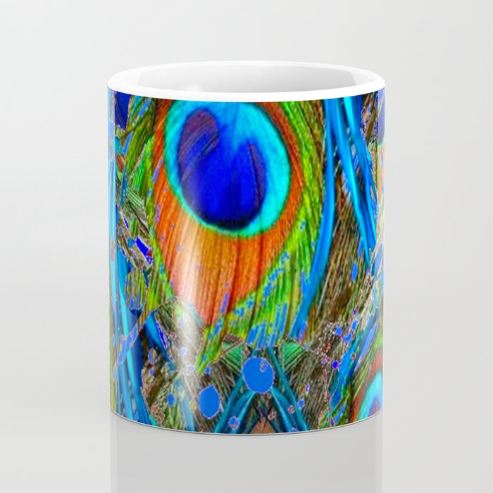 FEATHERY BLUE PEACOCK ABSTRACTED  FEATHERS ART PILLOWS Coffee Mug