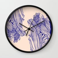 tulip Wall Clocks featuring Dark tulip by Annike