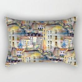 Gamla Stan Old City Stockholm Sweden Architectural Watercolor Landscape Rectangular Pillow