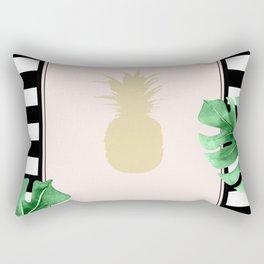 Chic Pineapple & Tropical Leaves Rectangular Pillow