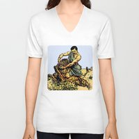 parks and recreation V-neck T-shirts featuring Ron Swanson Slaying A Lion  |  Parks and Recreation by Silvio Ledbetter