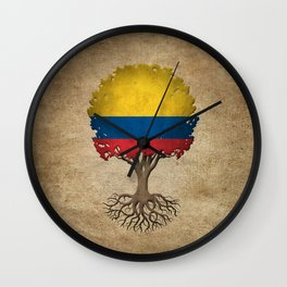 Vintage Tree of Life with Flag of Colombia Wall Clock