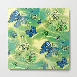 Butterfly Flutterby Blues Metal Print