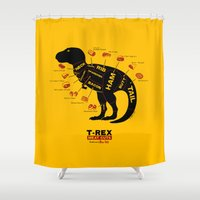 dino Shower Curtains featuring Dino Deli by victor calahan