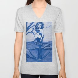 Astrology Zodiac Mermaid Virgo Watercolor Fantasy Art by Laurie Leigh Unisex V-Neck