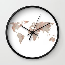 World Map Marble Rose Gold Shimmer Wall Clock
