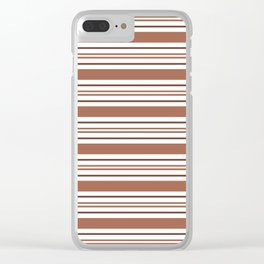 Sherwin Williams Cavern Clay Thick and Thin Horizontal Lines Bold Stripes Clear iPhone Case