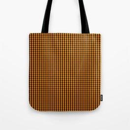 Small Pumpkin Orange and Black Gingham Check Plaid Tote Bag