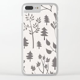 Winter Trees Pattern Clear iPhone Case