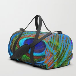 FLOWING BABY BLUE PEACOCK FEATHERS ART Duffle Bag