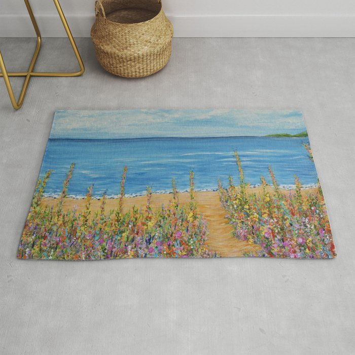 Summer Beach 2 Impressionism Ocean Wall Art House Decor Rug By Artbykatsy
