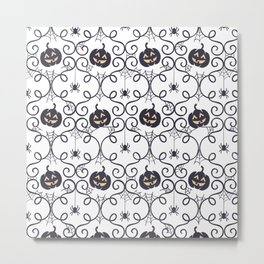 happy hallowen curves and pumkins pattern Metal Print