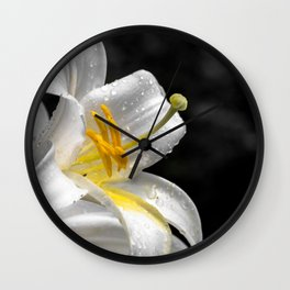 Lily flower covered by raindrops Wall Clock