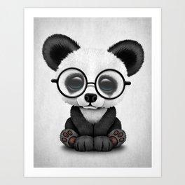 Cute Panda Bear Cub with Eye Glasses Art Print
