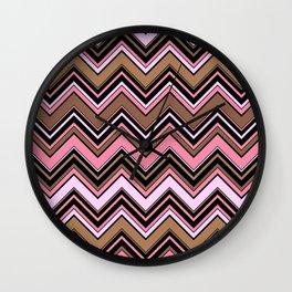 Zigzag Pattern, Chevron Pattern - Brown Pink Wall Clock