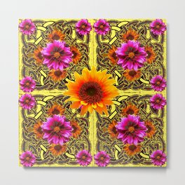 YELLOW SUNFLOWER PURPLE FLORAS CELTIC ART Metal Print