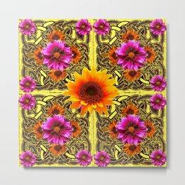 YELLOW SUNFLOWER PURPLE FLORAS CELTIC ART Metal Print