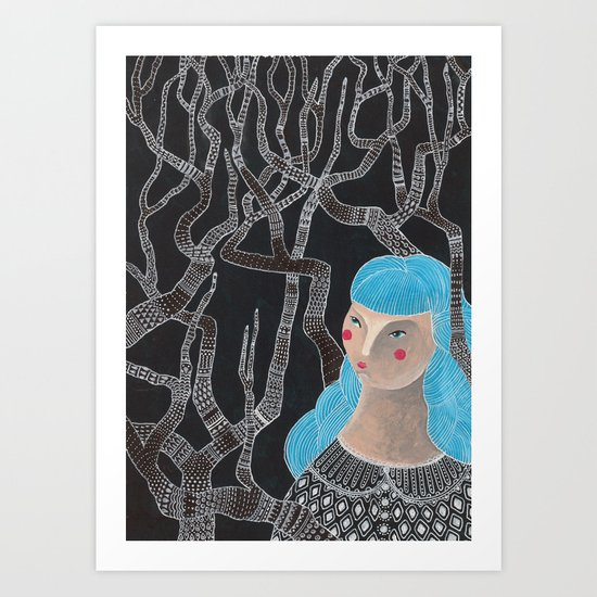 Lady in the woods Art Print