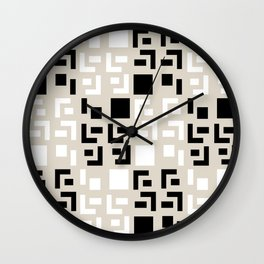Retro Fancy Cinder Block Pattern Tan Wall Clock