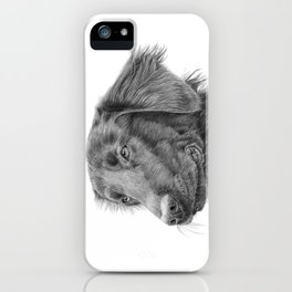 Flatcoated retriever bw iPhone Case