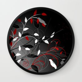 Nature in black, white and red. Wall Clock